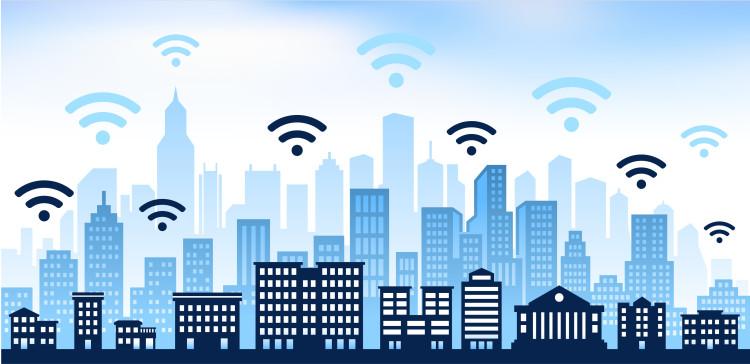 Wi-Fi on Cityscape Color Set