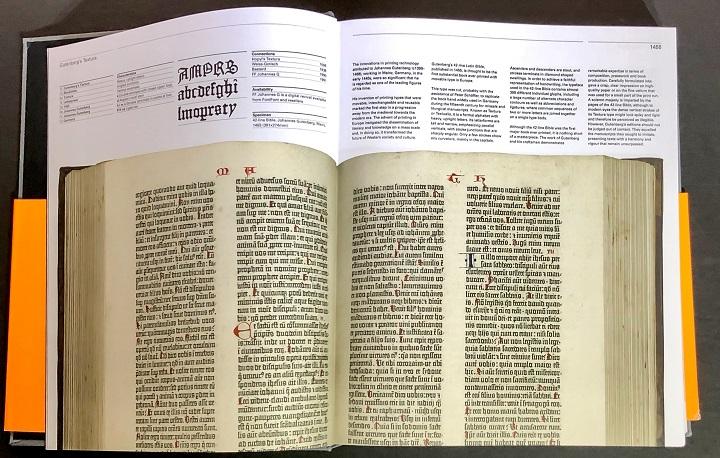 გუტენბერგის სტამბაში დაბეჭდილი წიგნის მაგალითი, სადაც გამოყენებულია ე.წ. blackletter იგივე fraktur სტილის შრიფტის დიზაინი.
